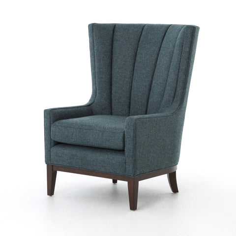 Channelled Wing Chair in Peacock