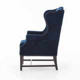 Velvet Navy Wing Chair