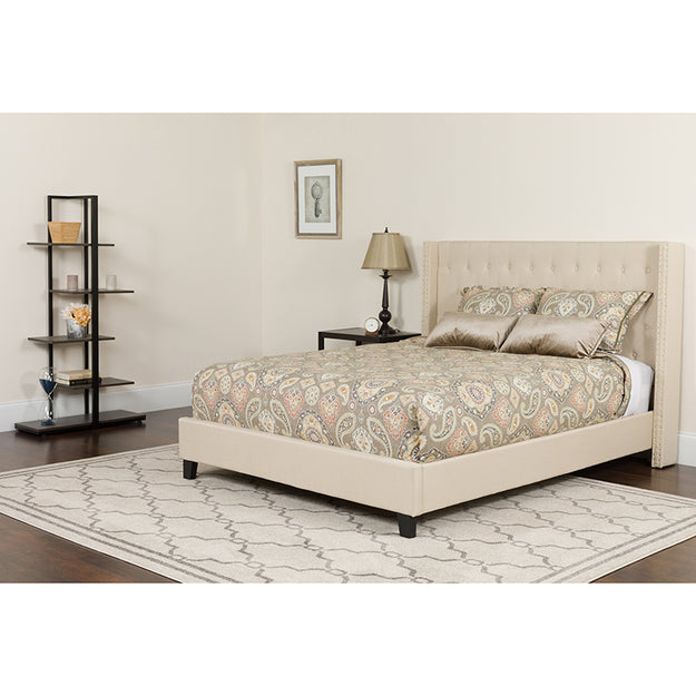 Beige Fully Upholstered Tufted Bed
