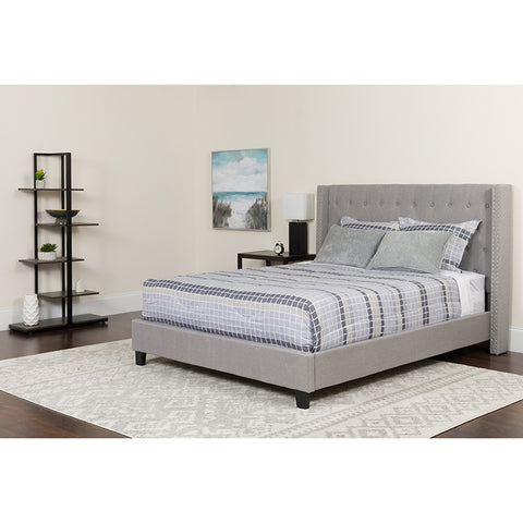 Light Gray Fully Upholstered Tufted Bed