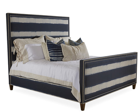 Welted with Nail Head Square Headboard and Footboard Bed