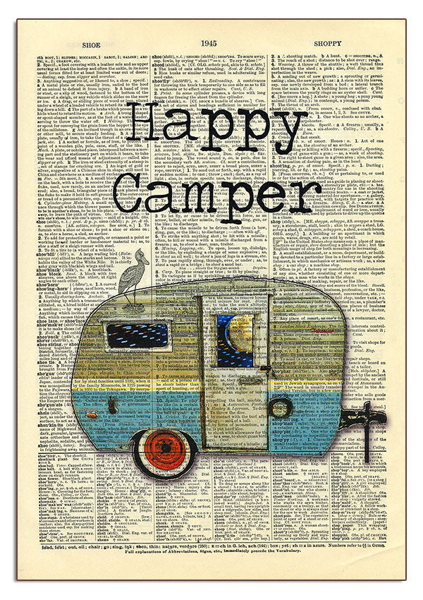 Happy Camper Dictionary Art
