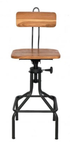 Wood and Metal Adjustable Height Stool
