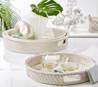 White Rattan Round Serving Tray