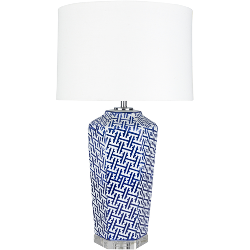 Blue Fretwork Lamp