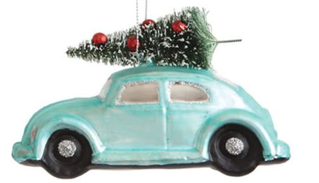 Light Blue Glass Hand-painted Car with Tree Ornament