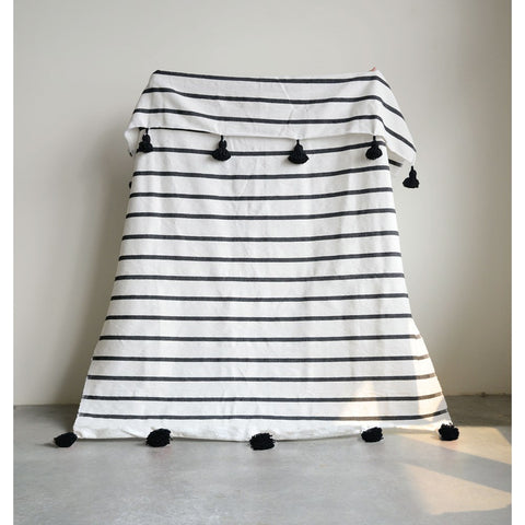 Black Striped Bed Cover w/Tassels