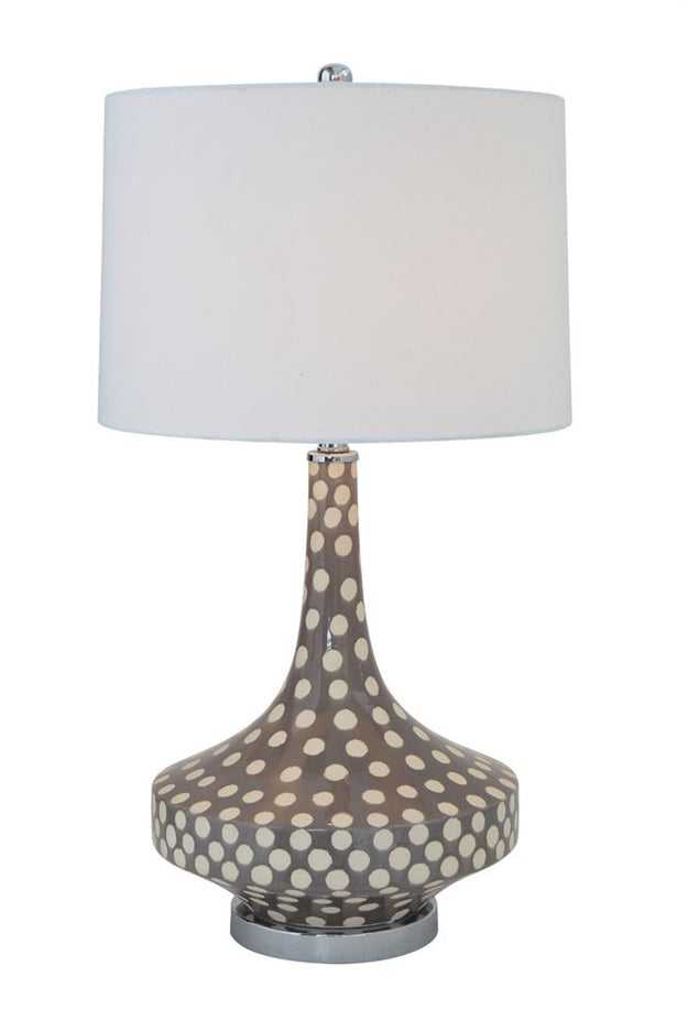 Spotted Grey and White Table Lamp