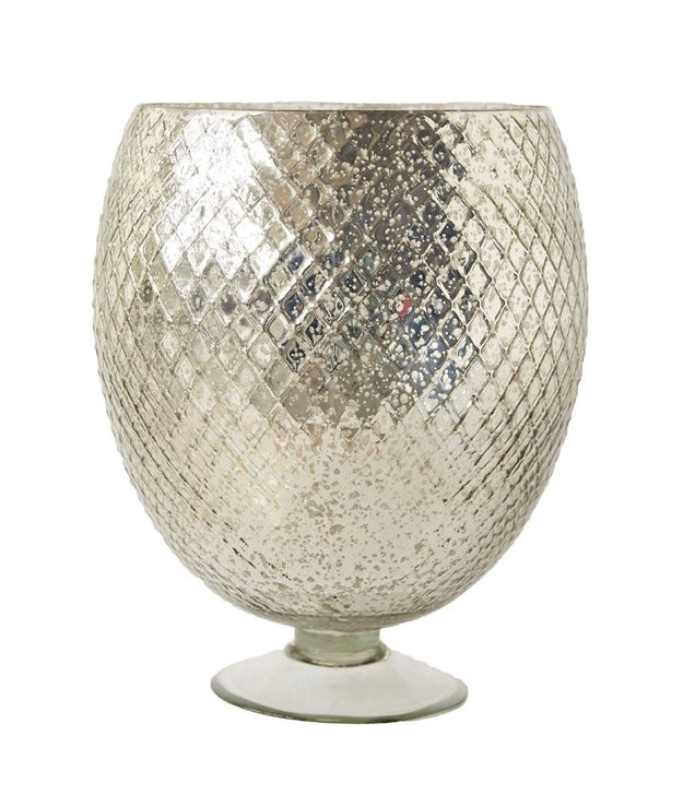 Embossed Mercury Glass Footed Vase