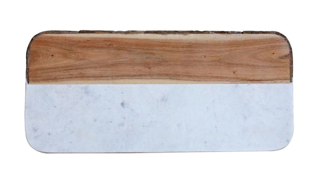 White Marble and Mango Wood Cheese Board with Bark Edge