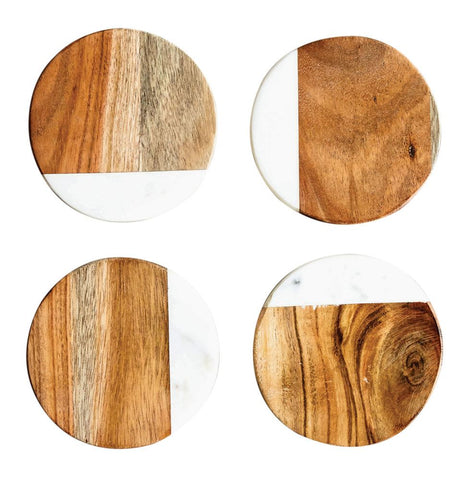 Round Marble and Mango Wood Coasters
