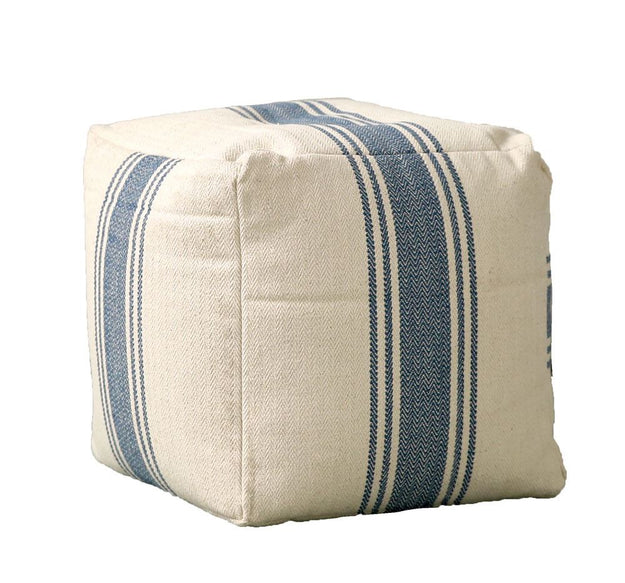 Blue Striped Pouf