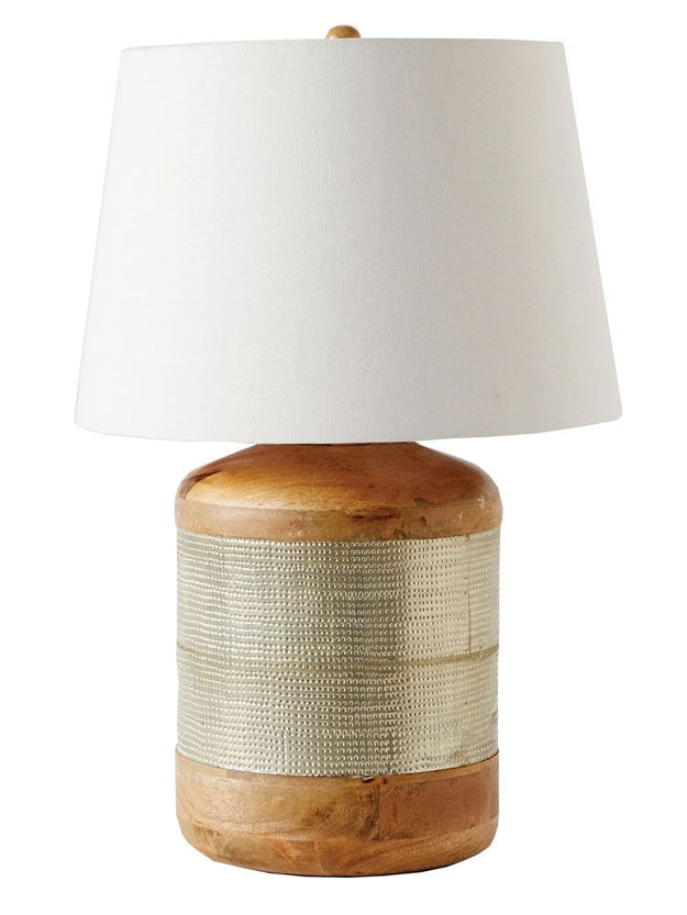 Mango Wood And Metal Clad Table Lamp