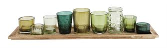Wood Tray with Green Glass Votives