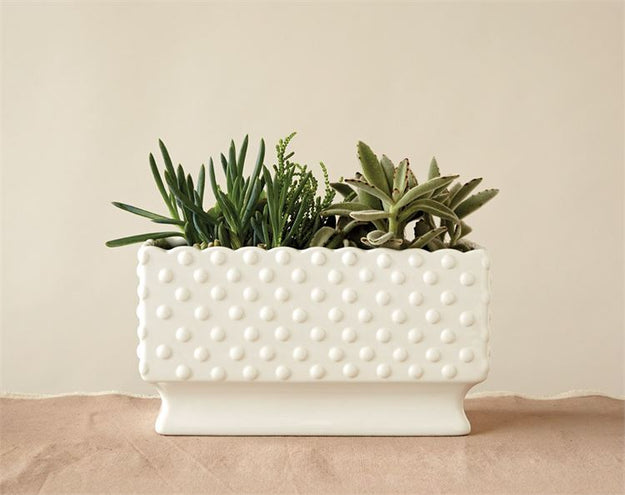 White Ceramic Hobnail Planter