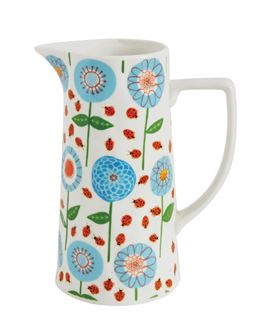 Flowers and Lady Bugs Stoneware Pitcher