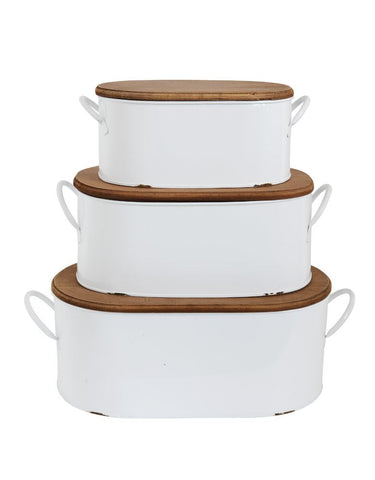 White Oval Metal Boxes with Wooden Lids