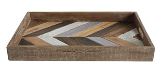 Weathered Herringbone Vintage Inspired Wooden Tray