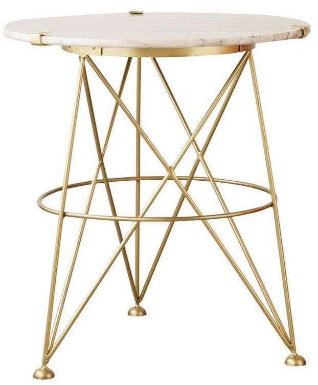 Round Marble and Brass End Table