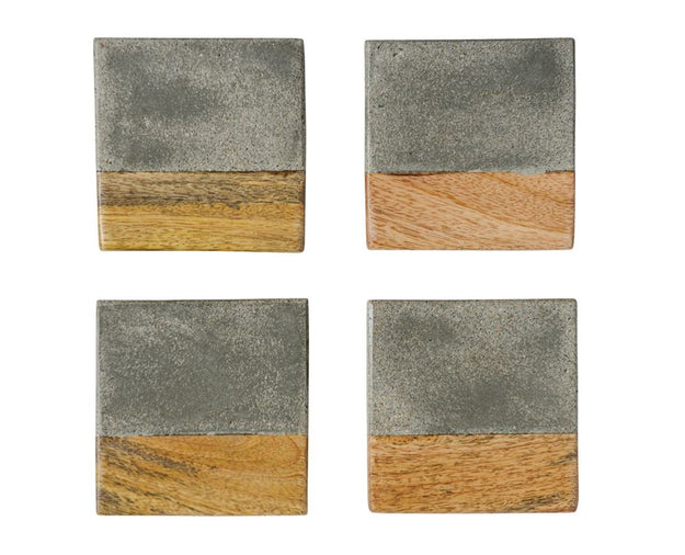 Square Cement and Wood Coasters
