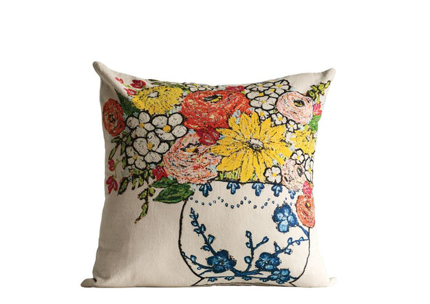 Cotton Pillow w/Floral Embroidery