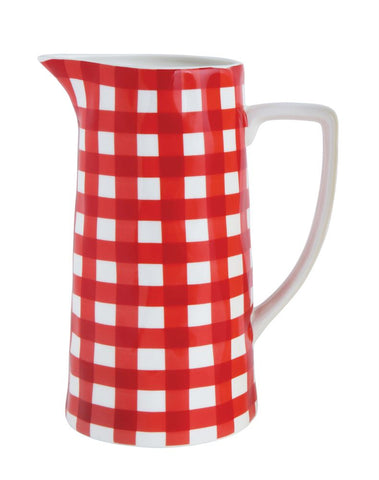 Red Gingham Stoneware Pitcher