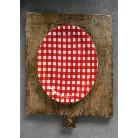 Red gingham stoneware platter