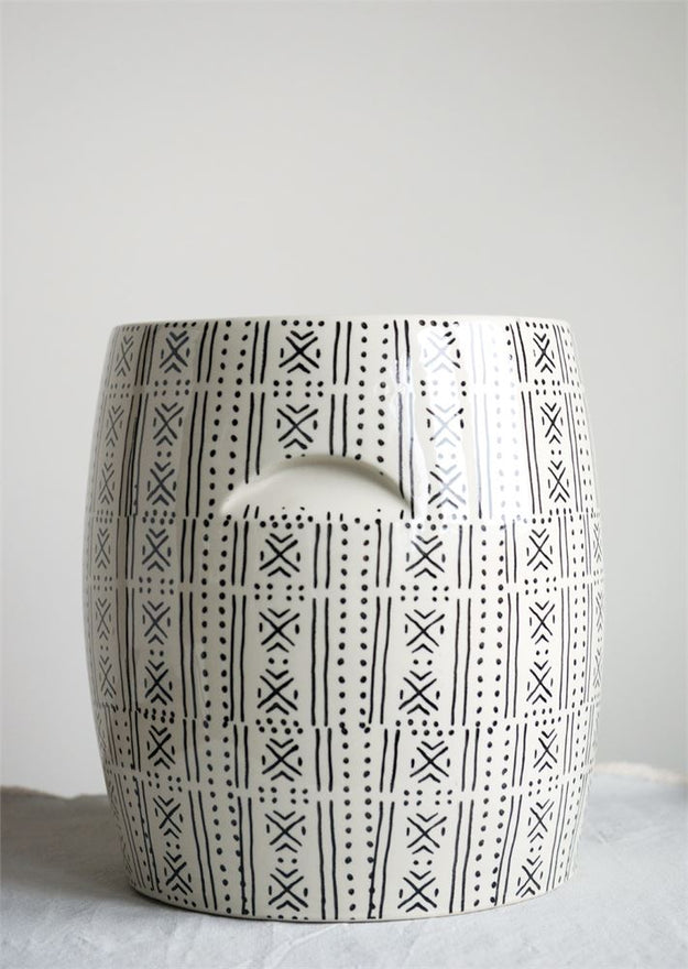 Black and White Round Stoneware Stool