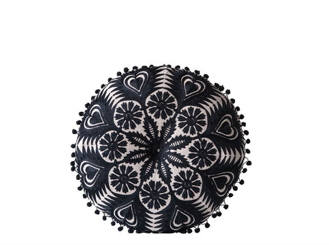 Black & White Embroidered Pillow