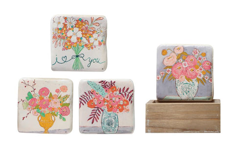 Floral Square Resin Coaster Set
