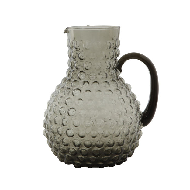 Glass hobnail pitcher, smoke