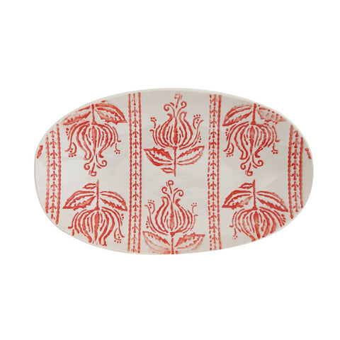 Hand-stamped stoneware platter w/red embossed pattern