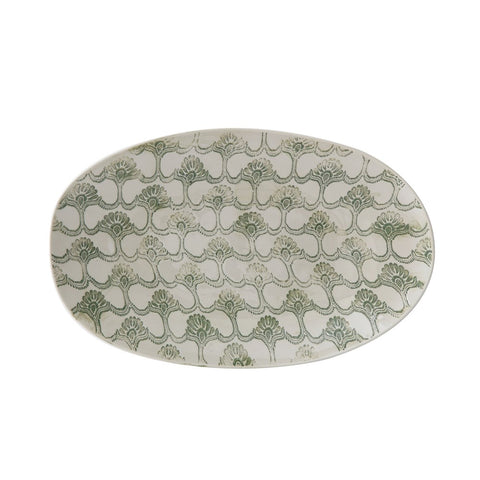 hand-stamped stoneware platter w/green embossed pattern