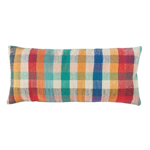 Woven Madras Plaid Lumbar Pillow