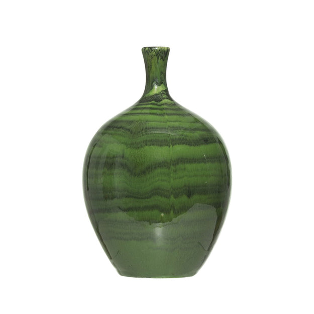 Malachite Glazed Tall Stoneware Vase