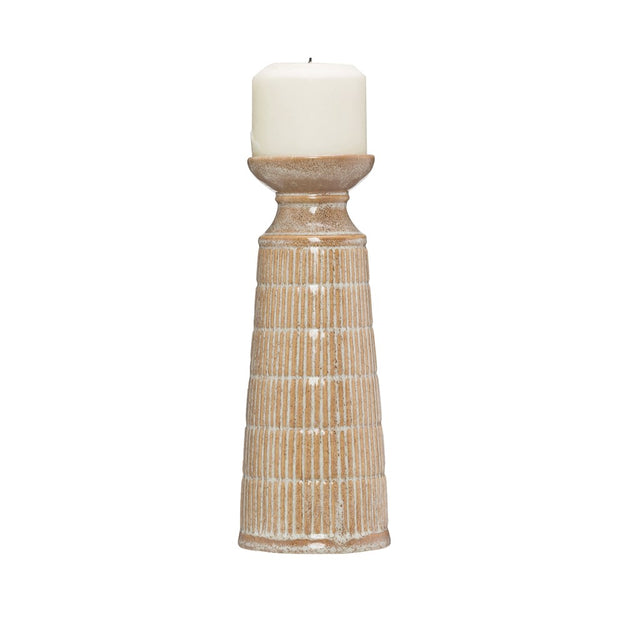 BEIGE STONEWARE CANDLE HOLDER W/REACTIVE GLAZE - Tall