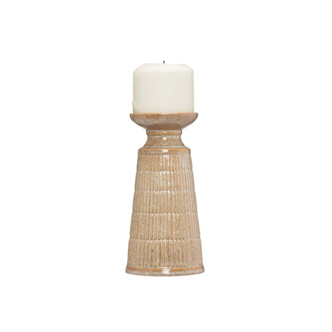 Beige Stoneware candle holder w/reactive glaze - Short