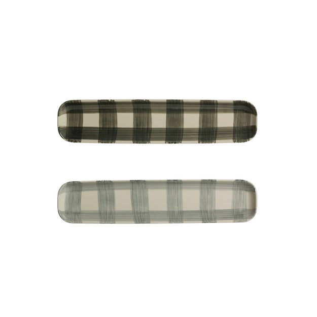 Forest green hand-painted buffalo check long platter