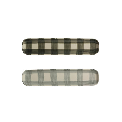 light gray hand-painted buffalo check long platter