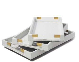 Stingray Rectangular White Leather Tray
