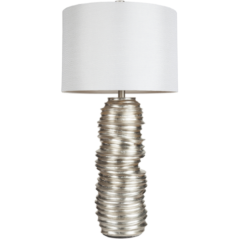 Stacked Silver Disk Lamp