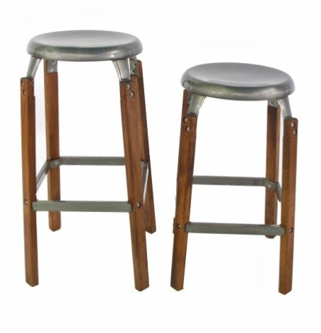 Galvanized Wood and Metal Stool