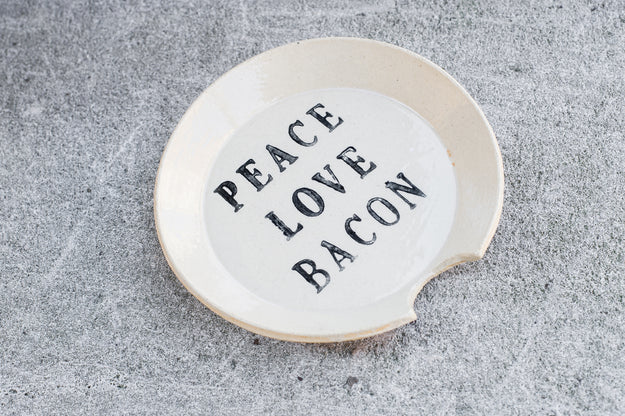 "Ceramic Spoon Rest ""Peace Love Bacon"""