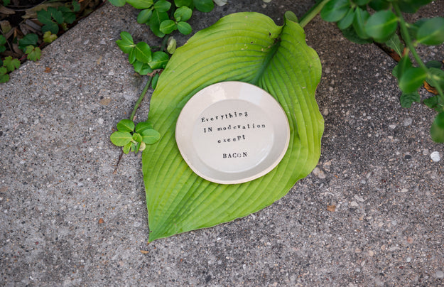 "Ceramic Spoon Rest ""everything in moderation except bacon"""