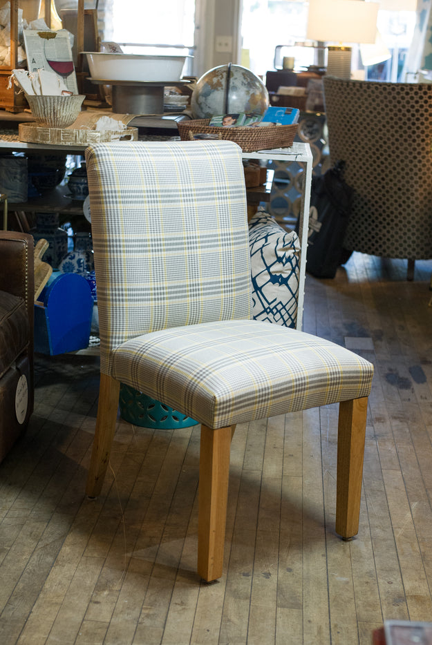 Plaid Straw Chair