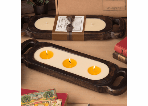 Wooden Candle Tray-Tobacco Bark Small