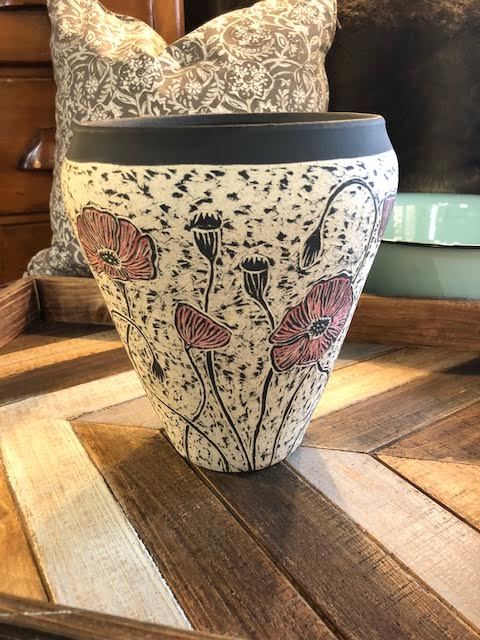 Etched Poppies Vase