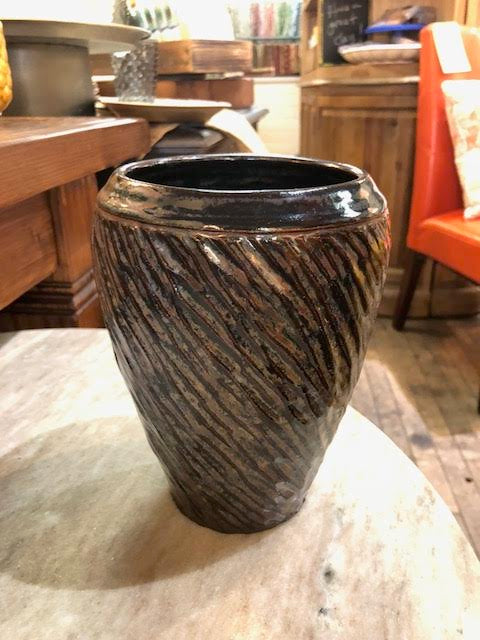 Textured Lines Brown Vase