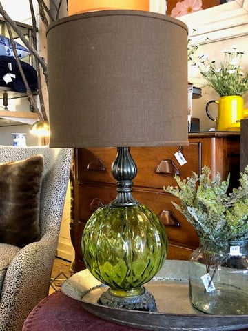 Pair of vintage green glass lamps