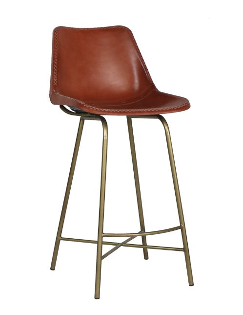 Leather Whipstitch Bar Stool